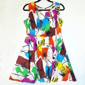 Vintage Retro Abstract Art to Wear Skater Dress